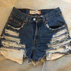 Levi's. Vintage destroyed high rise denim shorts